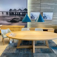Nick Scali @nickscali display showing the Jordana dining table made from Solid South American Eucalyptus. Dining chairs are the Micah and Joseph with pendant light being Benjamin Large in Petrol Blue . . . . . . . . . #nickscali #furniture #furnituredesign #furnituremurah #furniturebali #furnitureonline #furniturestore #furnituremedan #furnituremodern #furnituredecor #diningtable #diningchairs #moodfurnitureau