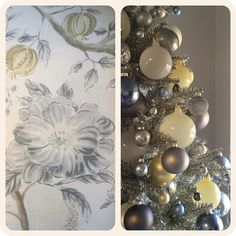 christmas 2014 : grey, silver, pale yellow, and steel blue ornaments on a champagne tinsel tree inspired by the color palette of a sarah richardson fabric. Christmas Tree Yellow, Silver Christmas Decorations, Christmas 2014, Xmas Ornaments, Christmas Crafts, Christmas Ideas, Tinsel Tree, Christmas Inspiration, Sarah Richardson