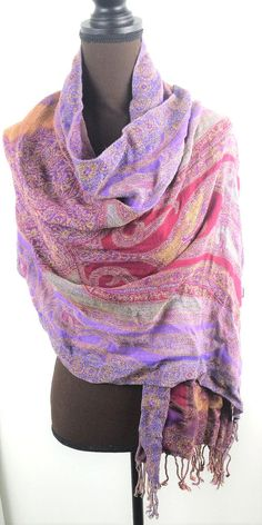 Scarf Shoulder Wrap Geometric Design Multi Color Purples and Pinks #Unbranded #Scarf