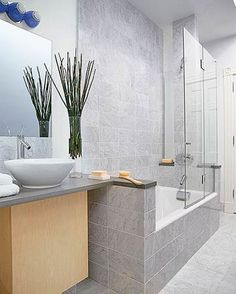 Similar layout to my bathroom but reversed  Like the glass door and tub  combo Shower tub combo for guest bath  Good idea to have glass hinged so  . Tub Shower Combo Glass Doors. Home Design Ideas