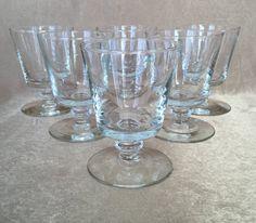 Whiskey Glasses Vintage Barware Pedestal Clear Short by DotnBettys