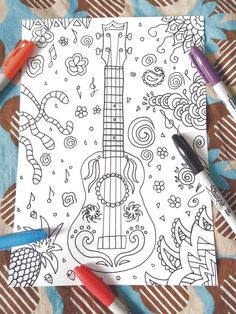 ukulele coloring book guitar braguinha machete by LaSoffittaDiSte