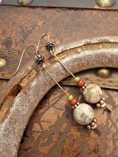Jasper gemstone, glass seed bead earrings. Copper earrings.