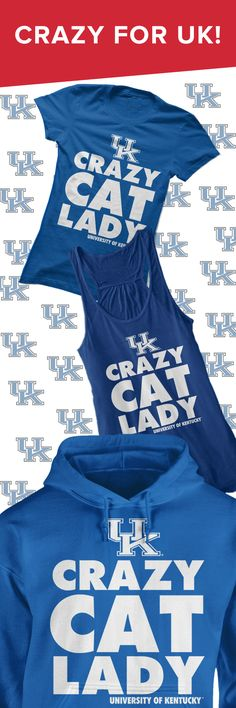 "<3 this ""Crazy Cat Lady"" shirt as a funny gift for diehard Kentucky Wildcats fans!"