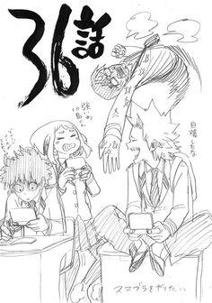 Midoriya Izuku, Uraraka Ochako, Kirishima Eijirou, an Iida Tenya
