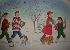 Vintage Christmas Card. Reminds me of my friends and I coming back from the corner store buying gifts for our parents. Memories, I just love the old school cards.