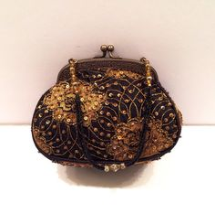Christiana Black and Gold Beaded Kiss lock by LesChosesNecessaires