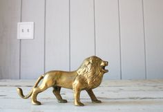 Vintage Brass Lion // Solid Brass Paperweight by genrestoration, $38.00