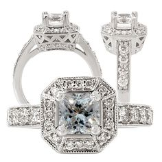 18k cultured 5mm princess cut moissanite engagement ring with natural diamond halo