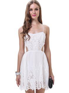 Vestido+combinado+encaje+Cut+Out-blanco+0.00