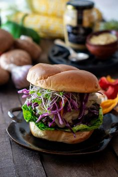 Dijon Portobello Mushroom Burger Recipe - Little Figgy Food Vegetarian Barbecue, Vegetarian Cooking, Vegetarian Recipes, Barbecue Recipes, Portobello Mushroom Burger, Roasted Radishes, Grilled Fruit, Healthy Sandwiches, Food Processor Recipes
