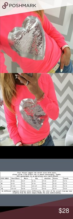 Women's Fashion Long Sleeved Heart-shaped T-shirt Type:Tees Tops Gender:Women Length:Regular Clothing Style:Regular Sleeve Style:Fashion Material: polyester Collar:O-Neck Style:Natural Color Color Type:Letter Pattern Color: pink coral color.  Size: L. Please check size chart to make sure the measurements fit your shape. Please feel free to ask any questions the (#1 bin ) Tops Tees - Long Sleeve
