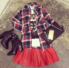 Plaid is back with this red skirt, black boots and black bag