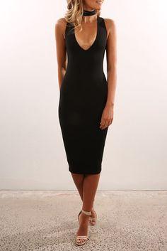 Diva Midi Dress Black