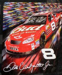 Dale Earnhardt Jr Royal Plush Raschel Throw Blanket #8 Budweiser Monte Carlo Nascar NIP $25
