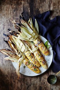 [labor day] grilled corn with cilantro-lime compound butter.