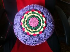 Crochet round flower cushion