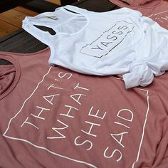 Adorable Bride and Bridesmaid Tank tops, perfect for your bachelorette party or day of the wedding. Weve chosen a white tank for the bride and swooning over the YASSS in rose gold. The bridesmaids are a beautiful mauve with white vinyl, Thats what she said **To order, please select the color (white for Bride and Mauve for Bridesmaid) and then the size. Add to cart, then select the next one! Or each bridesmaid can order individually** SHIRT AND SIZING INFO: Go with the flow in this go-to…