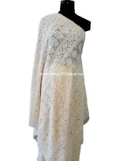 Buy Pure Georgette Chikan Saree with Heavy Pallu and Mukaish Work $350. Can be dyed in the color of your choice. Chikankari Embroidery