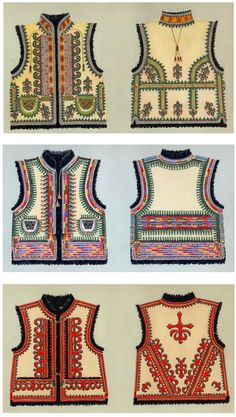 Hello all, Today I will restrict my writing to one garment, the Kyptar, also spelled Keptar. This is the sheepskin vest which. Ukrainian Dress, Ukrainian Art, Cross Stitch Embroidery, Embroidery Patterns, Textile Prints, Textiles, Ethno Style, Hippie Baby, Arte Popular