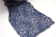Gorgeous Stretchy Navy Blue Lace - Perfect for Projects or Decor! - Sold by the Yard