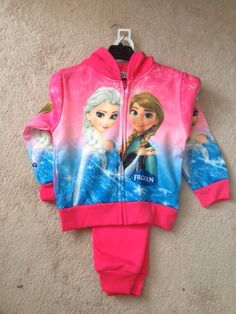 2 piece frozen, girls trackset Elsa Pictures, Girls Fall Outfits, Fall Clothes, Girl Falling, Disney Inspired, Little Princess, Picture Show, Elastic Waist, Hooded Jacket
