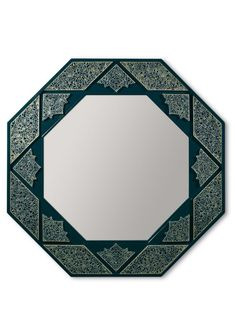 Arabesque Eight Sided Wall Mirror in tones of dark green and with geometrically crafted adornments. #mirror #octagonalmirror #darkmirror #entrancemirror #glam #mirroronthewall Amazing Ideas, Arabesque, Wall Mirror, Porcelain, Dark, Green, Inspiration, Home Decor, Biblical Inspiration