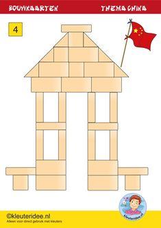 Bouwkaarten met Chinese gebouwen, bouwhoek thema China, kaart 4, Kindergarten China theme, buildingcards,free printable, kleuteridee.nl. Cube Pattern, Pattern Blocks, Panda China, Block Area, Block Play, Preschool Math, Play To Learn, Travel Themes, School Projects