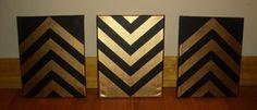Set of chevron paintings