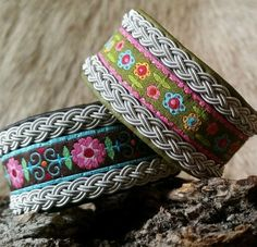Use woven band for center Diy Jewelry, Jewelery, Jewelry Making, Baubles And Beads, Leather Working, Textiles, Scandinavian Design, Beautiful Rings, Handicraft
