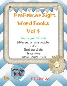 Preprimer Sight Word Books Vol 4 from Amazing Kids on TeachersNotebook.com -  (16 pages)  - Preprimer Sight Word Book learn read reading write writing sentence words differentiated practice