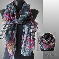 Damen Frühling Sommer Schal Loop Tuch Halstuch - Floral Print - blau türkis rosa