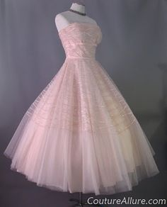 1950s Rappi Pink Tulle Strapless Dress