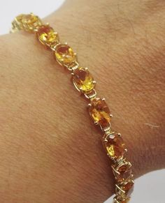 Stunning 14k Yg Las Citrine Tennis Bracelet 7 Long G100999 1