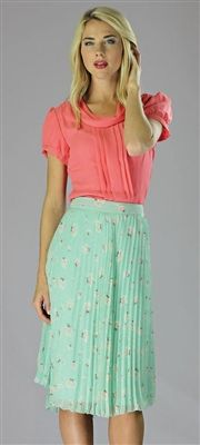 love this outfit!! Coral chiffon top and mint floral pleated skirt. By Mikarose