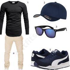 Outfit für Männer mit schwarzem Longsleeve, Flexfit Cap, schwarz-blauer Sonnenbrille, Puma Sneakern und beiger Hose. #outfit #style #fashion #menswear #mensfashion #inspiration #shirts #weste #cloth #clothing #männermode #herrenmode #shirt #mode #styling #sneaker