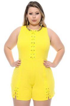 7012d9632 Macaquinho Plus Size Márica-50/52 Shorts Femininos Plus Size, Vestidos  Longos Para