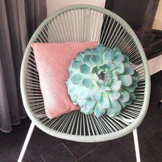 #kwantum repin: Kussen Vetplant @mevrouwcactus - En toen was ik opslag verliefd op dit leuke succulent kussentje van de kwantum! #interiordesign #interior #interior4all #interior123 #interieur #interieurinspiratie #urbanjungle #hangplant #pastel #pastelhome #pasteldecor #witwonen #witwonenmetkleur #plant #botanic #botanical #botanisch #wooninspiratie #woonideeen #kwantum #karwei #draadstoel #succulent #vetplant Pastel Decor, Living Room Interior, Chair, Instagram Posts, Home Decor, Decoration Home, Room Decor, Stool, Home Interior Design
