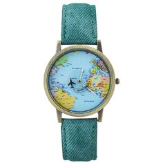 Faux Leather World Map Airplane Watch ($5.25) ❤ liked on Polyvore featuring jewelry, watches, faux leather watches, vegan jewelry, vegan watches and world map jewelry