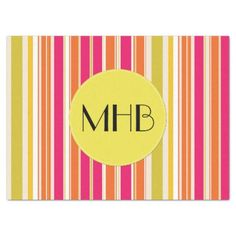 Monogram - Stripes Parallel Lines - Orange Pink Tissue Paper - craft supplies diy custom design supply special