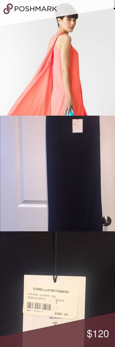 Diane von Furstenberg Liluye Long Dress BLACK (Please note the black dress is for sale ONLY. The pictures of the other dresses are to illustrate the shape and style of the dress and are not for sale.) - One shoulder - Crepe - Split draped overlay - On seam hip pockets - Hidden side zipper - Size 2 - Ruching at 1 inch strap - Lined - Measures 52 inches long - measured from shoulder - Brand new never worn. Tags still attached - Please know your size before purchase - Will ship to the United…