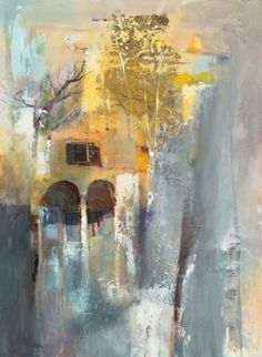 """Beyond the Arches-Landscape by Joan Fullerton Mixed Media ~ 38"""" x 30"""""""