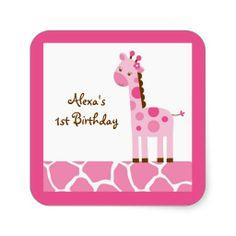 Pink Giraffe Birthday Stickers