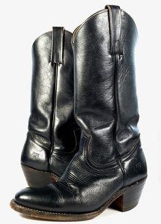 Frye Boots Size 7.5 Mens Black Leather Cowboy Western 2308 Vintage Distressed #Frye #CowboyWestern