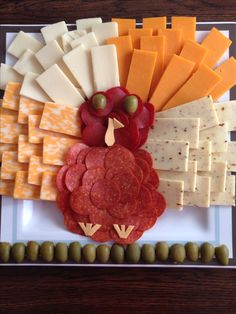 "funny food - ""Turkey"" cheese plate"