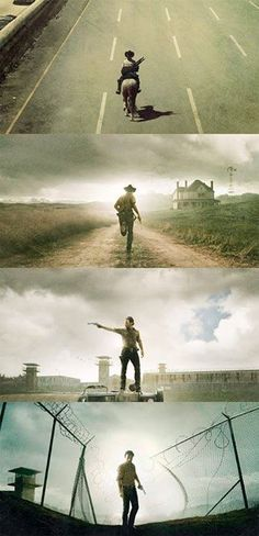 I love that the first two are Rick moving forward, as they were moving the first seasons toward something stable. Then the third shows them standing, stable and secure, then the forth is him finally looking back- examining the mistakes they've made. Very well done, AMC.