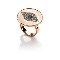 Ileana Makri: Titan Evil Eye Ring in 18K Rose Gold (€3.880) ❤ liked on Polyvore featuring jewelry, rings, evil eye, evil eye ring, pink gold ring, 18k jewelry, ileana makri jewelry and 18 karat gold jewelry