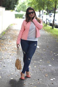 The pink jacket | Rebecca Minkoff bag - thecurvyshome.com