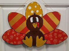 Items similar to Festive Turkey Door Hanger on Etsy Thanksgiving Door Decorations, School Door Decorations, Christmas Decor, Holiday Decor, Fall Door Hangers, Wooden Door Hangers, Fall Crafts, Holiday Crafts, Turkey Craft