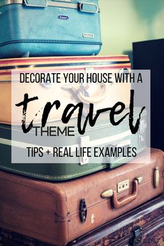 Check this post for real life examples and inspiration on decorating your house with a travel theme- including maps, globes, vintage suitcases and cameras, and more (www.greatwidetrav…) Source by greatwidetravel Travel Advice, Travel Tips, Travel Hacks, Travel Chic, Travel Crafts, Vintage Suitcases, Travel Themes, Travel Theme Rooms, Creating A Blog